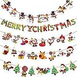 HoufuJC 5 Piezas Guirnalda Navidad Banner, Bunting Merry Christmas de Papel, con Patrones de Reno de Muñeco de Nieve de Papá Noel, para Decoraciones Navideñas