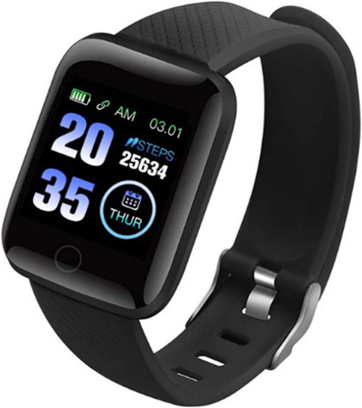 Wsaman Reloj de Pulsera Deportivo con Bluetooth, Monitor Rítmo Cardíaco y Sueño,con Pantalla de 1.3 Pulgadas, para Hombre Mujer Niño, Pulsera de Fitness,Negro