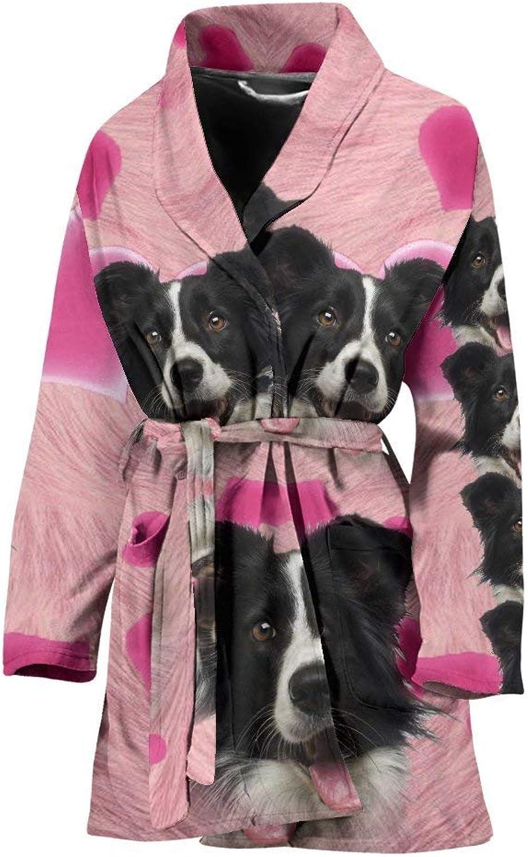 Deruj Border Collie Print Women's Bath Robe