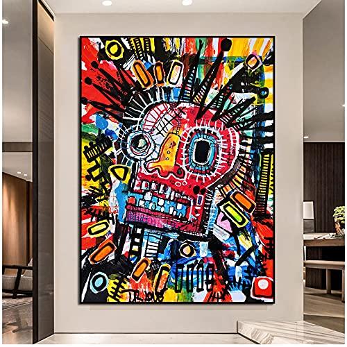 Michel Basquiat Graffiti Art toile peinture œuvre abstraite...