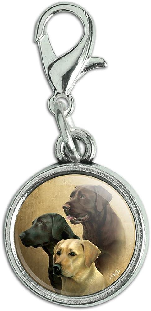 GRAPHICS & MORE Labrador Retriever Trio Dogs Portrait Antiqued Bracelet Pendant Zipper Pull Charm with Lobster Clasp