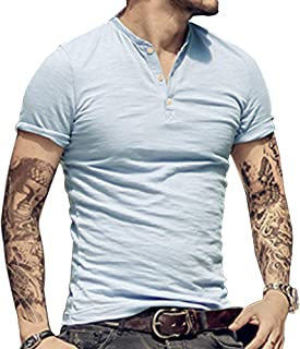 palglg Mens Cotton Muscle Slim Fitted Sport Henley T-Shirt with Button
