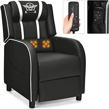 Giantex Gaming Recliner Chair, Racing Style Single Recliner Sofa w/Cushion, Adjustable PU Leather Recliner Home Theater Seat