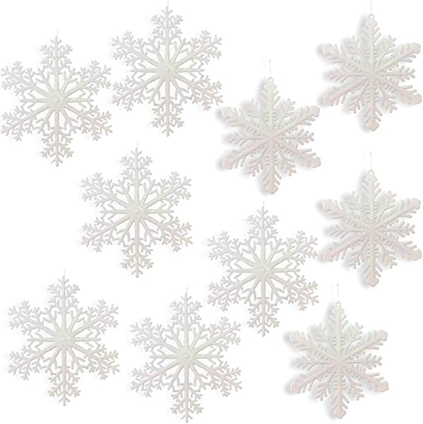 Large Snowflakes Set Of 10 White Glittered Snowflakes Approximately 12 Diam 2 Assorted Designs Snowflake Window Decor Winter Decorations