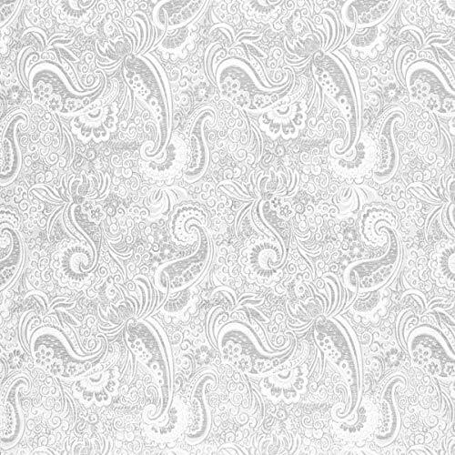 Karnevalsstoff Brokat Paisley Muster – silber — Meterware ab 0,5m — zum Nähen von Karneval und Abend- und Partymode