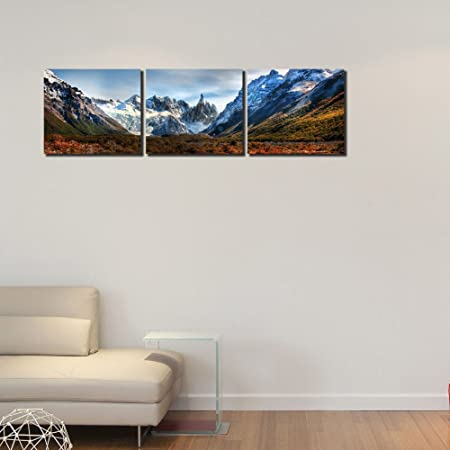 999Store Multiple ICY Mountain Art Panels Like Painting (135X45cm) - 3 Frames