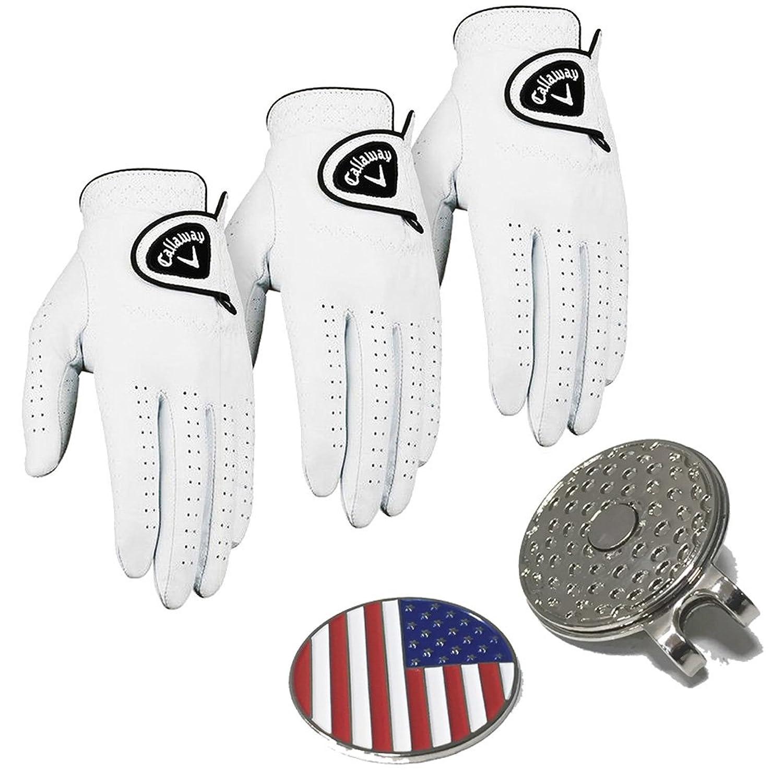 Set of 3?CallawayゴルフグローブメンズDawn Patrol手袋レザー2017?Comes with aのセット米国国旗ボールマーカーハットクリップ?–?Pickサイズ