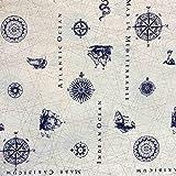Kt KILOtela Tela por Metros de loneta Estampada - Ancho 280 cm - Largo a elección de 50 en 50 cm | Carta náutica - Azul, Blanco