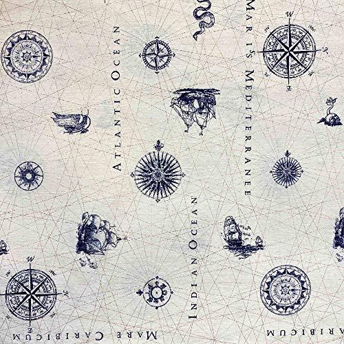 Kt KILOtela Tela de loneta Estampada Digital - Retal de 300 cm Largo x 280 cm Ancho | Carta náutica - Azul, Blanco ― 3 Metros