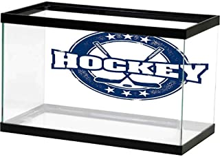 bybyhome Fish Tank Wall Hockey,Weathered Looking Vintage Stamp Composition Text Sticks and Stars in Circle,Navy Blue White Photography Background