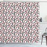 ABAKUHAUS Rot & Schwarz Duschvorhang, Stiletto Schuhe, mit 12 Ringe Set Wasserdicht Stielvoll Modern Farbfest & Schimmel Resistent, 175x180 cm, Scharlachrot Beige Schwarz