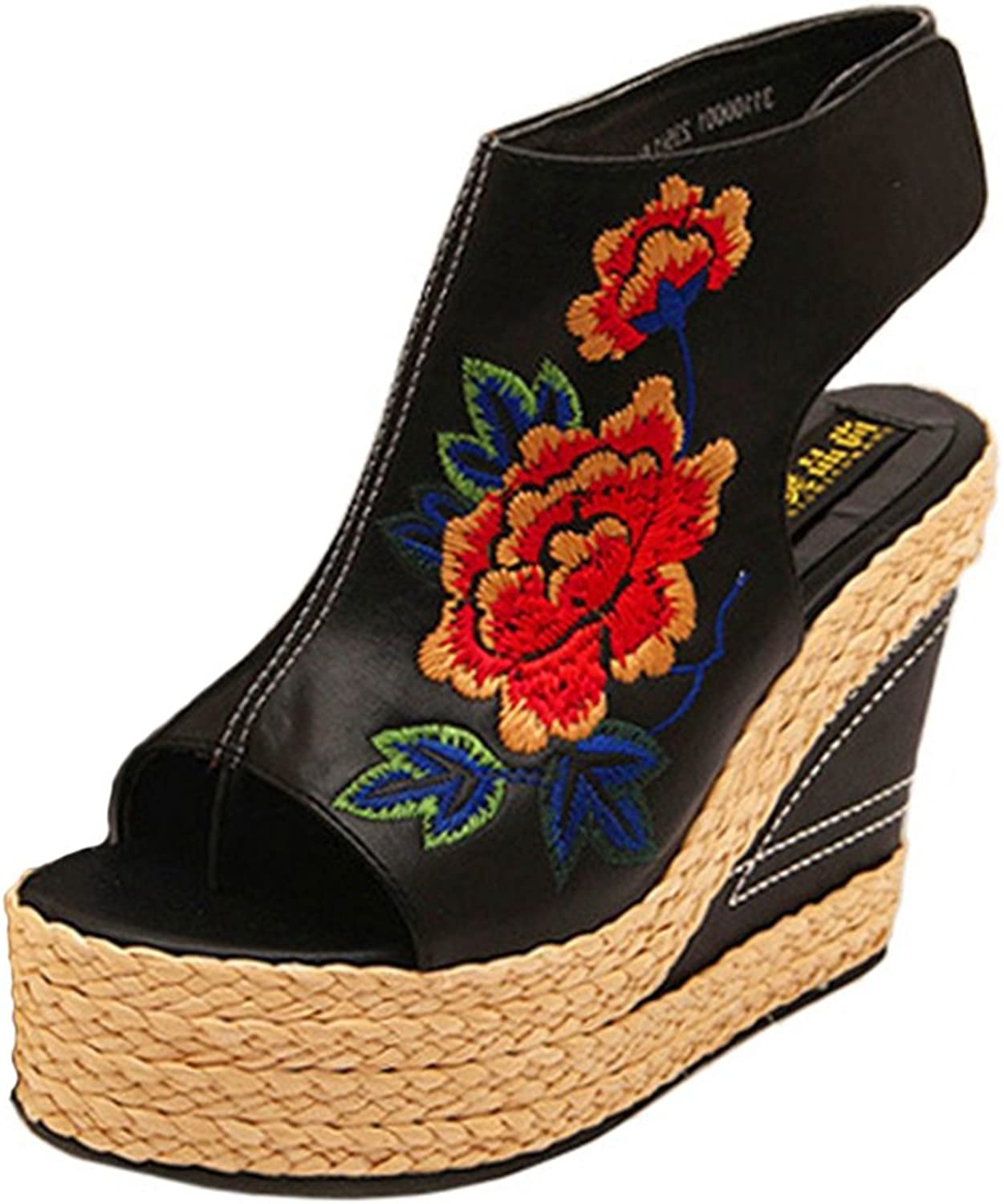 Btrada Women Peep Toe Wedge Sandals Embroidered Retro Platform Sandals