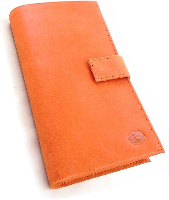 [On SALE   SOLDES  ]   Wallet + checkbook holder leather  Frandi  orange nubuck.