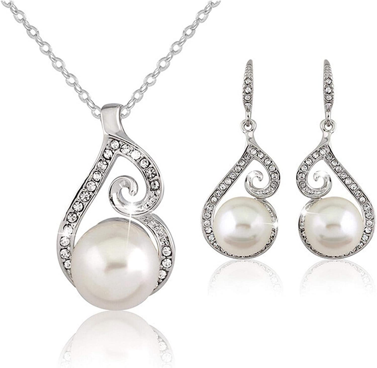 Womens Pearl Necklace Earrings Jewelry Set Shiny Crystal Pearls Necklace Dangle Earrings Jewelry Formal Dress Accessory for Bridesmaids & Brides Anniversary Wedding Party Jewelry Gifts
