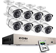 ZOSI 8CH 1080P PoE Home Security Camera System,8-Channel 1080P NVR Recorder with 2TB Hard Drive,8pcs 2MP 1920TVL Outdoor Indoor POE IP Cameras with 100ft Night Vision,Power Over Ethernet