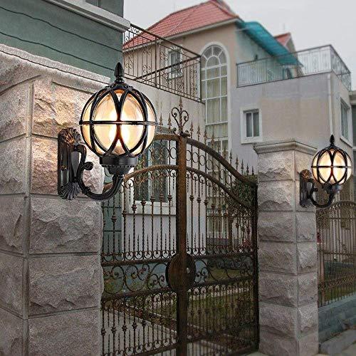 Wandlamp glazen spiegel voorlicht wereldbol buitenverlichting landschapsverlichting landschapsverlichting landschapsverlichting landhuis antiek wandlamp bollamp antioxide buiten E27 17.5x31cm  Blanco Y Gris