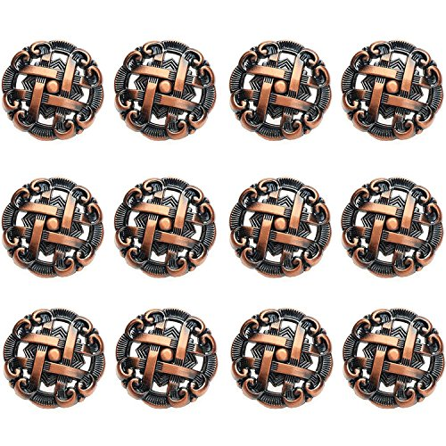 FBSHOP™ - 12 pomelli rotondi per cassetti e credenze, con maniglie e maniglie di forma antica, per armadio, cassetto, porta, cucina, colore: Rosso bronzo, 12 pezzi