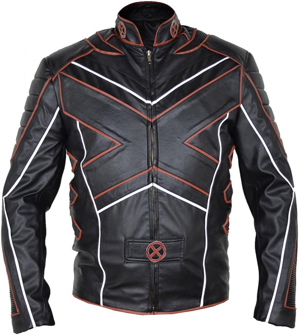 MSHC Men's X-Men Big X Faux Leather Jacket Sizes XXS-5XL Black & Orange