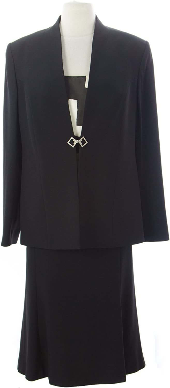 THANA Women's ThreePiece Skirt Suit IT 48 Black Cream
