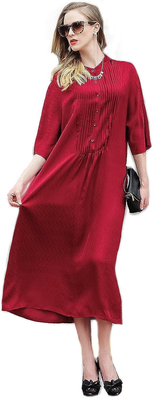 VOA Women's Red 3 4 Sleeve Loose Silk Maxi Dress A5978