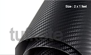Tufkote Vinyl Film Decal 3D carbon Fiber Twill-Weave Matte Design, Size 24 X 12 Inches (Black)