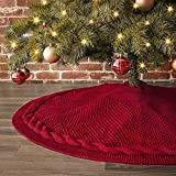 LimBridge Christmas Tree Skirt, 48 inches Cable Knit Knitted Thick Rustic Xmas Holiday Dec...
