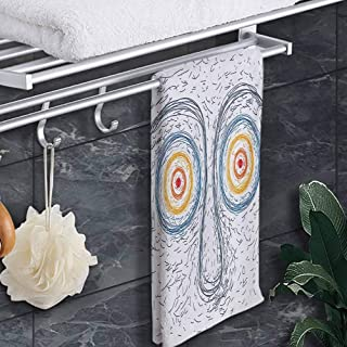 "prunushome Washcloths Psychedelic Custom Towels Confused Man Portrait Human Face with Large Hypnotic Eyes Trance Hand Drawn for Bathroom, Hand, Gym Multicolor 8""x24"""