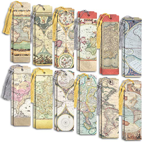 Antique Map Bookmarks with Tassel (24 Pack)
