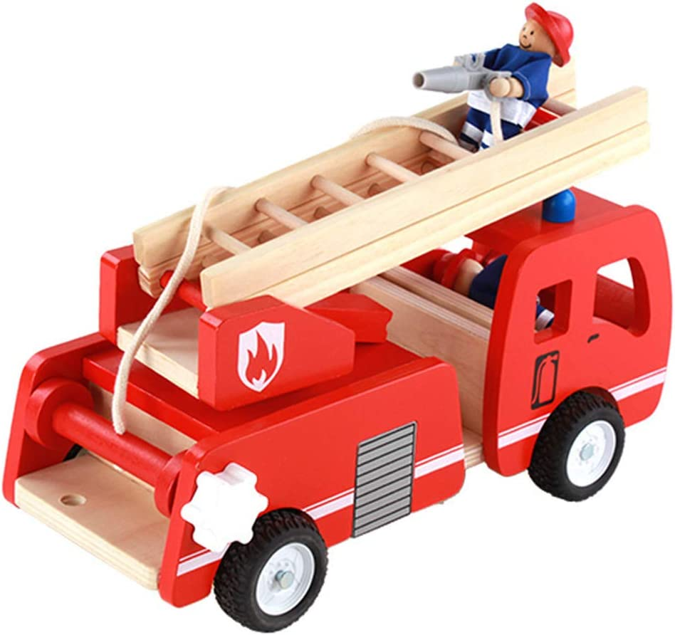HUImiai Green 4 years warranty Toys Wooden Fire Truck Japan's largest assortment Play for Im Toy Imaginative