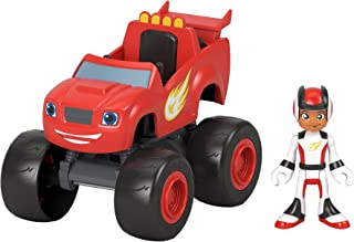 Fisher-Price Blaze and the Monster Machines Blaze & AJ, Large Push-Along Monster Truck with Poseable Figure for Preschool ...