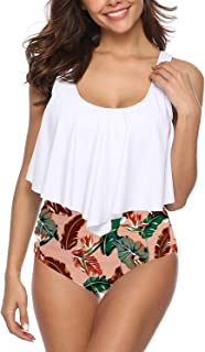 SouqFone Swimsuits for Women Two Piece Bathing Suits Ruffled Flounce Top with High Waisted Bottom Bikini Set