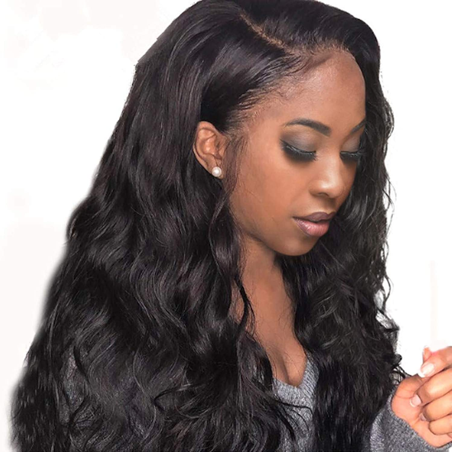 Life Diaries 10A Grade NO TANGLE Silk Top Full Lace Wig 130% Density Pre Plucked Nature Body Wave Natural Color Brazilian Virgin Human Hair Wigs for All Skin Women 16 Inch