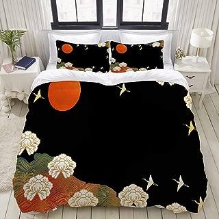 FAKAINU Duvet Cover Set, Peony Flowers Flying Cranes Wave Patterns, Decorative 3 Piece Bedding Set with 2 Pillow Shams