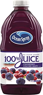 Ocean Spray 100% Juice, Cranberry Concord Grape, 60 Ounce Bottles (Pack of 8)