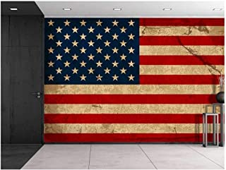 wall26 - Large Wall Mural - Vintage American Flag   Self-Adhesive Vinyl Wallpaper/Removable Modern Decorating Wall Art - 66