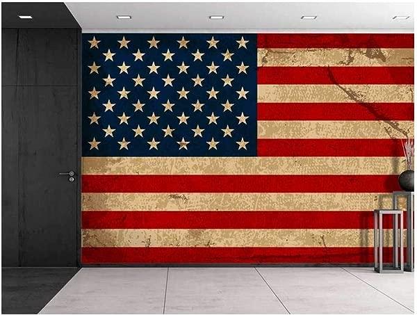 Wall26 Large Wall Mural Vintage American Flag Self Adhesive Vinyl Wallpaper Removable Modern Decorating Wall Art 66 X 96