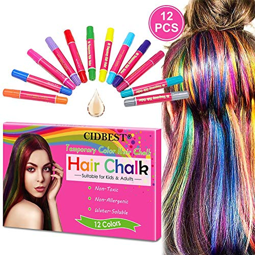 Hair Chalk, Hair Chalk Pens, 12 Color Temporary Hair Chalk, Non-Toxic Washable Hair Color Safe For Kids and Teen, Use for Party, Cosplay, Theater, Halloween Makeup (Fun Hair Color Ideas For Short Hair)