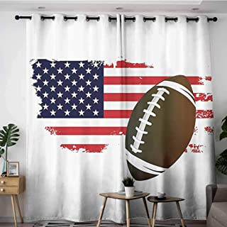 Onefzc Grommet Window Curtains,Sports Decor Collection American Football Tradition Halftone Pattern of USA Flag Nation Tradition Image,Grommet Curtains for Bedroom,W120x72L,Navy Red White Peru