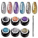 VOXURY 6 Colores Esmaltes Semipermanentes con Purpurina + Bolígrafo de pintura Remojo UV LED Super Platinum Esmalte de Uñas en Gel glitter, Kit de Manicura Para Decoración de Uñas 5 ml