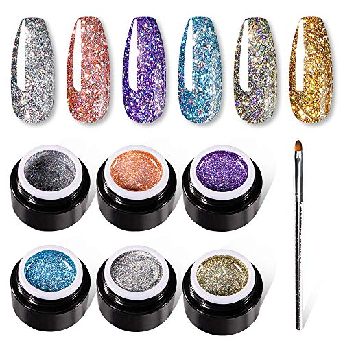 VOXURY Glitter UV Nagellack 5ml mit Paint Pen Kit, 6PCS UV-LED Gelpolierkollektion Nagellack-Kit Glitzer Gel Nagelgel Set