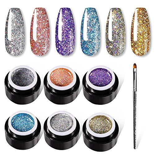 VOXURY Gel Glitter Smalti Semipermanenti Per Unghie 5ml + Penna Per Pittura, 6PCS UV LED Soak Off Smalto Semipermanente Diamanti Collection Kit