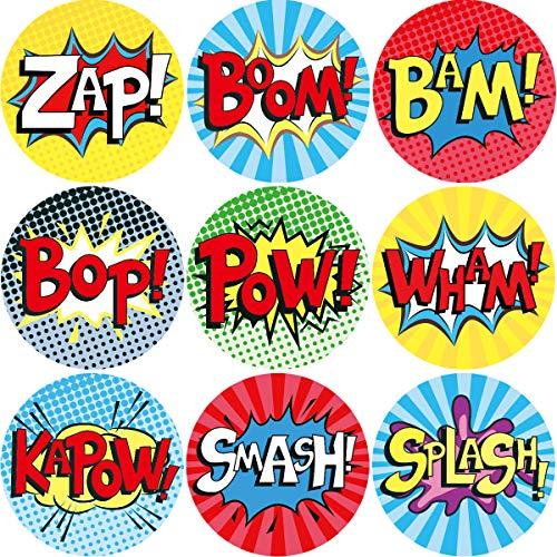 Pegatinas Superhero para cumpleaños, escuela, casa, fiesta, 9 diseños, 200 unidades por rollo