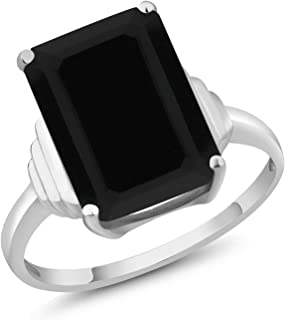 Sterling Silver Black Onyx Women's Ring 5.00 cttw Emerald Cut Center Onyx:14X10MM (Available 5,6,7,8,9)