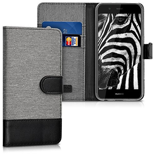 kwmobile Hülle kompatibel mit Huawei Nova 2 - Kunstleder Wallet Hülle mit Kartenfächern Stand in Grau Schwarz