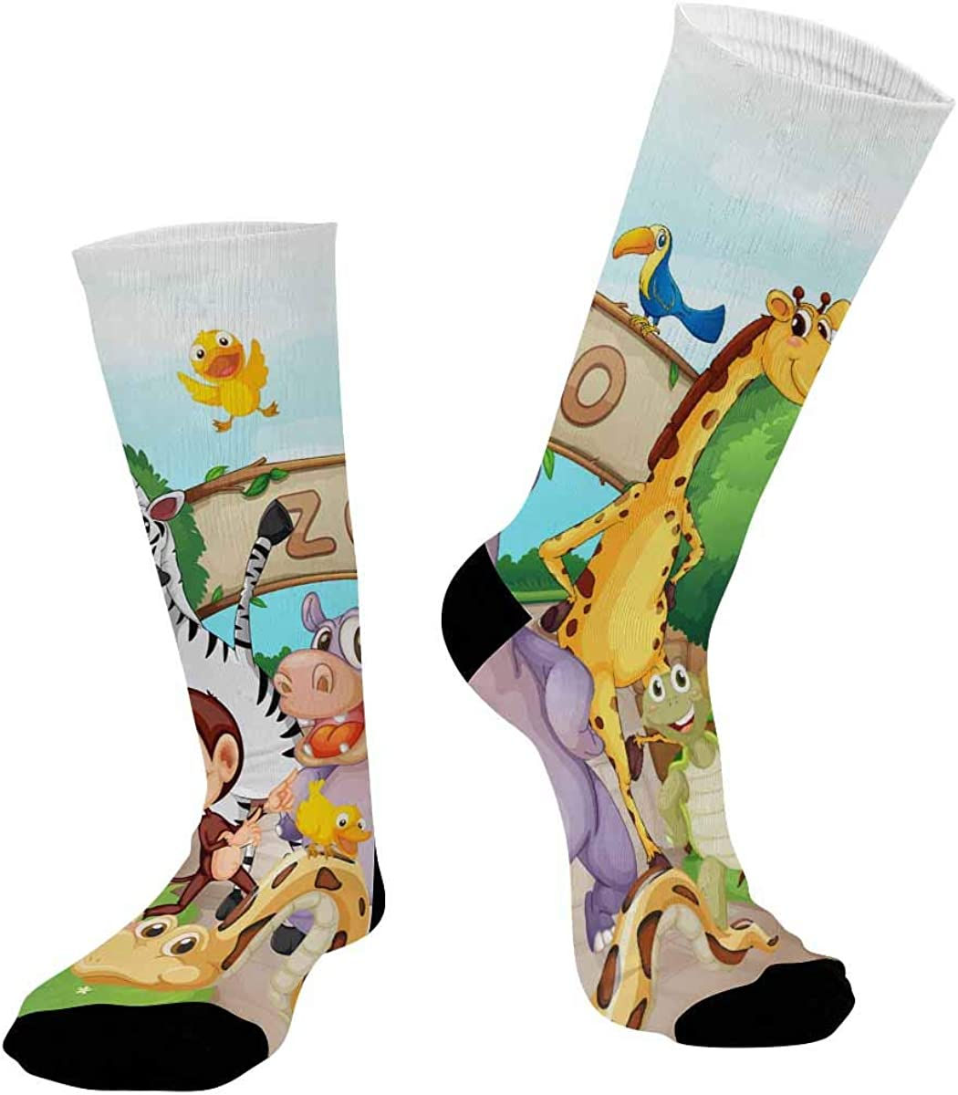 INTERESTPRINT Casual Sublimated Crew Socks Unisex Zoo and the Animals