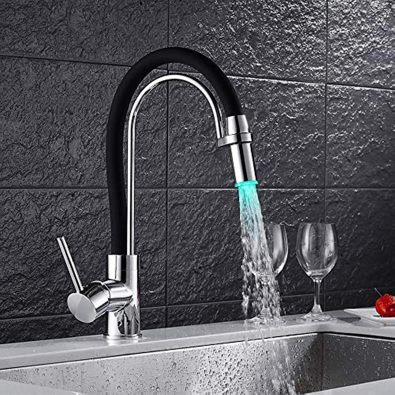 IFELGUD LED Wasserhahn Für Wasser in der Küche Torneira De Cozinha LED Licht Waschbecken Wasserhahn Messing Warm Cold Chrome Bad Mischbatterie