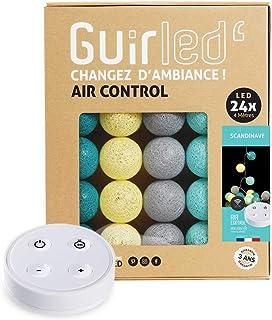 Guirlande lumineuse boules coton LED USB - Télécommande sans fil - Veilleuse bébé 2h - Adaptateur secteur double USB 2A in...