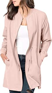 Womens Casual Lightweight Zip Up Suede Jackets Dust Coat Outerwear Windbreaker