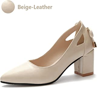 Women Square Heel High Pumps Pointed Toe Dress Shoes Patent Leather Pumps