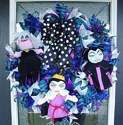 CLEARANCE SALE! Disney Villains Halloween Deco Mesh Front Door Wreath, Ursula, Evil Queen, Maleficent, Porch Patio Decoration, Yarp Prop Decor, Wall home